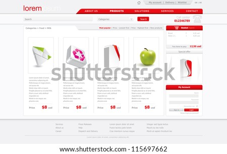 Webshop template in editable format
