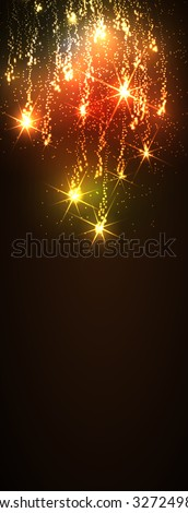 Website Banner Template - Abstract Dark Vertical Golden Meteor Shower Background - Firework Falling Stars Trail Backdrop - New Years Eve or Christmas Season Greeting Cards. Glittering Stars - X-Mas - stock vector