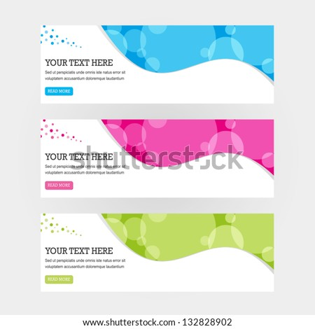 Website Banners in Pink, Blue & Green