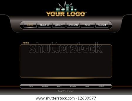 Website black and gold glossy template - stock vector