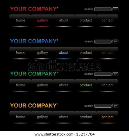 Website black buttons bars set template - stock vector