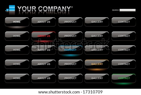 Website black glossy style button bars set template - stock vector