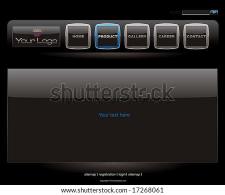 Website black vista style button bars set template - stock vector