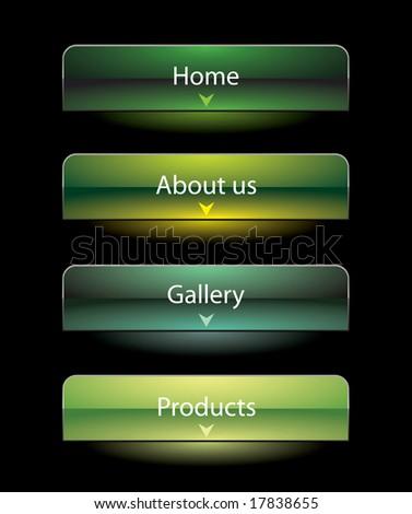Website black vista style buttons set template - stock vector