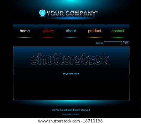 Website blue button bars set template