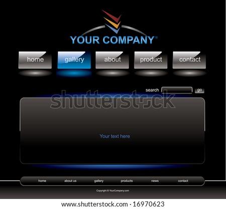 Website blue button bars set template - stock vector