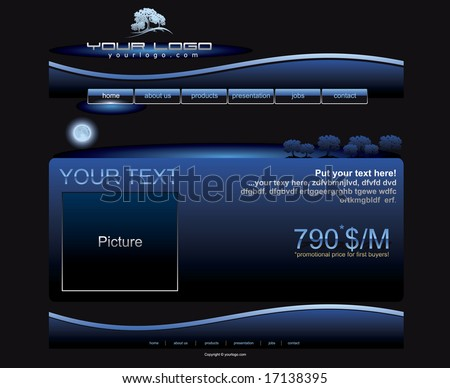 Website blue button bars set template - stock vector