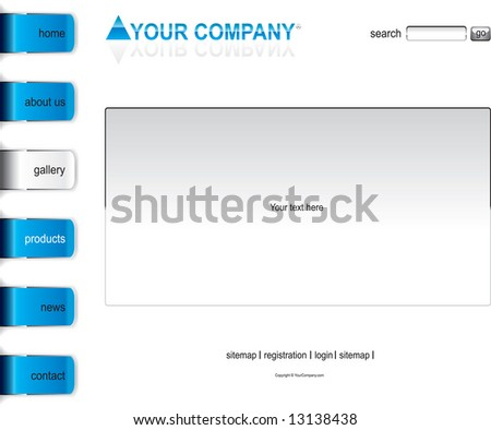 Website blue glossy alloy template - stock vector