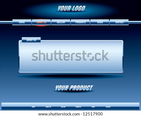 Website blue glossy template - stock vector