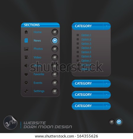 Website Dark Moon Design, Template, Buttons, Sign, Symbol, Emblem for Web Design, User Interface, Mobile Phone - stock vector