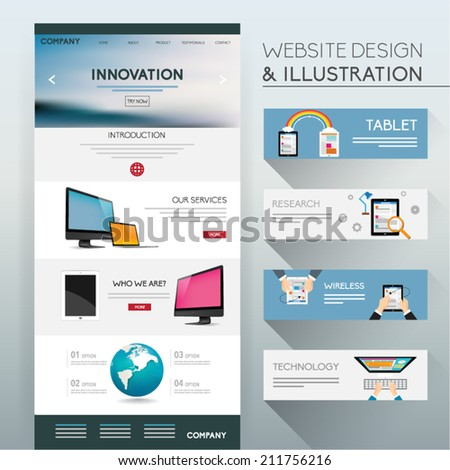 Website Design and Illustration Vector Design  - stock vector