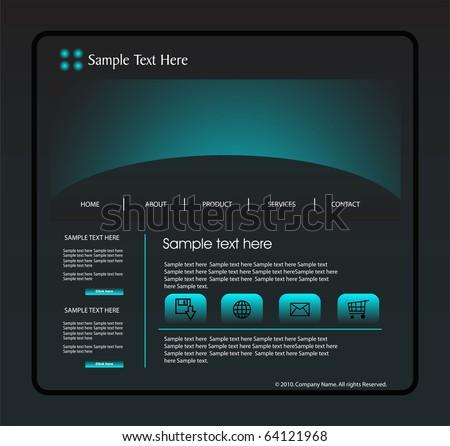 Website design black template - stock vector