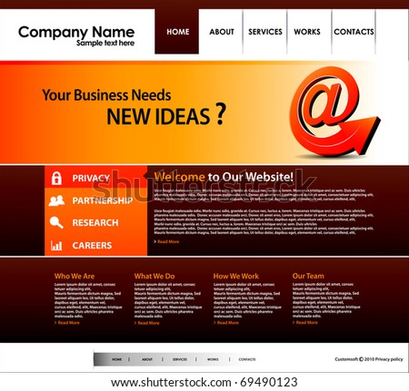 Website design business template, editable Vector illustration. - stock vector