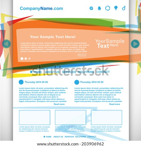 Website design colorful template, vector - stock vector