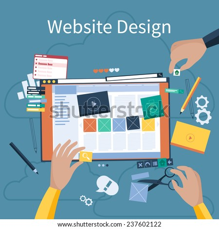 Website design concept. Hands that design web site with different blocks. Tablet pc interface. Big Touch pad buttons in flat design style - stock vector
