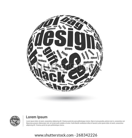 Website Design concept word globe. World globe with latest design keyword trend. Wordcloud vector illustration. - stock vector