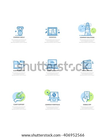Website design elements: Set of business concept icons for company and personal portfolio - stock vector