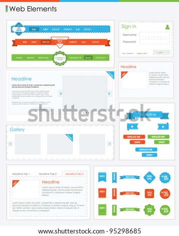 Website design elements web navigation buttons retro vintage style - stock vector