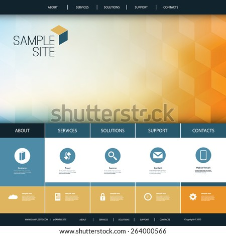 Website Design for Your Business with Abstract Pattern Background - stock vector