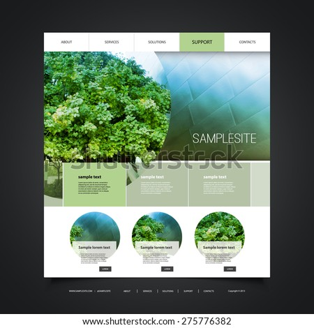 Website Design for Your Business with Eco Header Design - stock vector