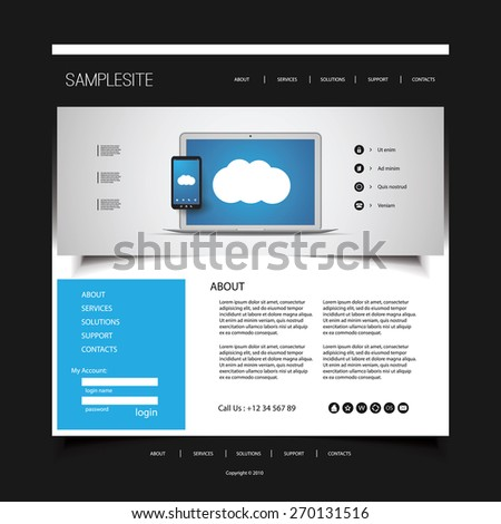 Website Design for Your Business with Electronic Devices - stock vector