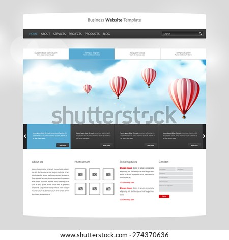 Website Design for Your Business with hot air balloons realistic illustration. Vector Eps 10 - stock vector