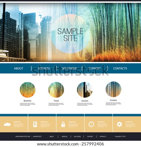Website Design for Your Business with Photomontage Background - stock vector