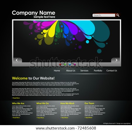 Website design layout business internet template, editable Vector illustration. - stock vector