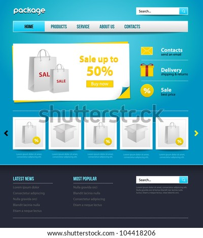 website design store template for your business. Gift, package - stock vector