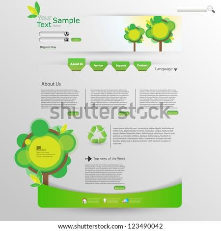 Website Design Template Ecological Theme - stock vector