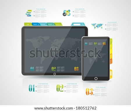 Website design template elements: Tablet PC with Smart phone and icons set  - stock vector