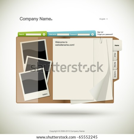 Website design template, folder with papers and photo cards - stock vector