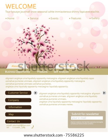 Website design template for personal portfolio - perfect for photographers and designers. Vector illustration. - stock vector