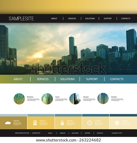 Website Design Template for Your Business with Melbourne Skyline Background - stock vector
