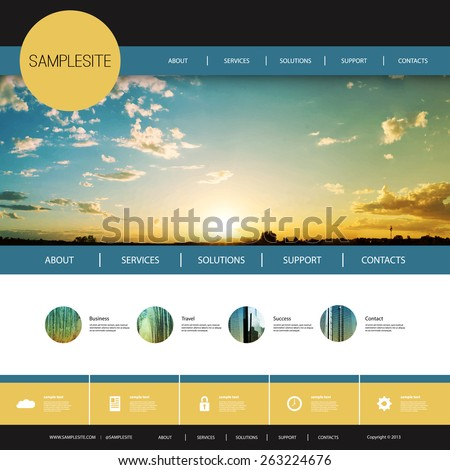 Website Design Template for Your Business with Sunset Photo Background - stock vector