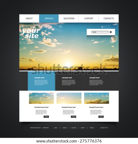 Website Design Template for Your Business with Sunset Photo Background - Blue Sky, Clouds, Sun and Sun Rays - stock vector