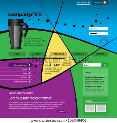 Website design template 960 Grid, vector. - stock vector