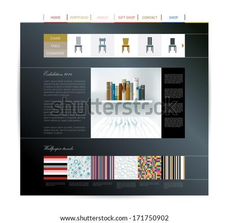 Website design template. Interior home studio layout. - stock vector