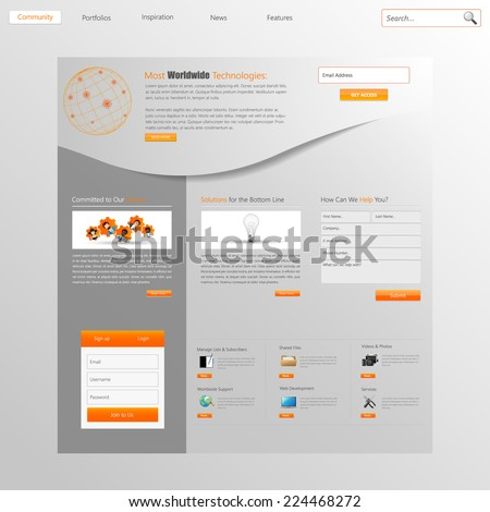 Website design template menu elements with icons   - stock vector