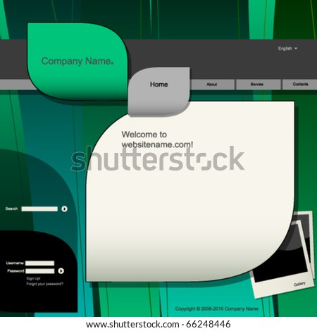 Website design template, natural colors and shapes - stock vector