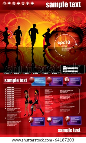 Website design template, sport vector. - stock vector