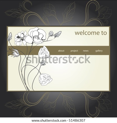 website design template. stylized floral background