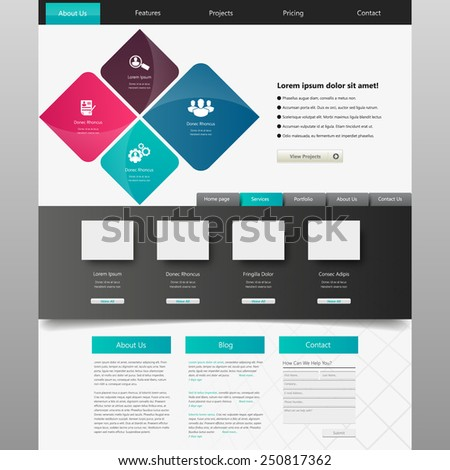 Website design template, vector. - stock vector
