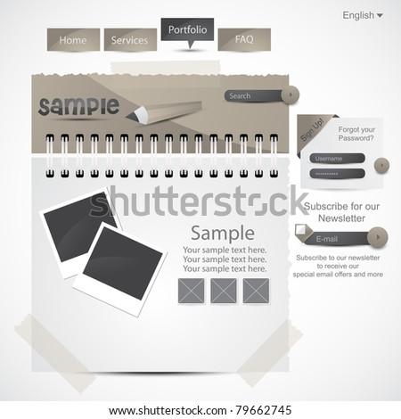 Website design template, vector EPS10. - stock vector