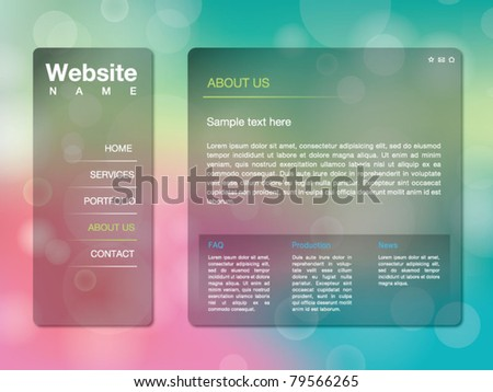 Website Design Template with Bokeh Background - stock vector