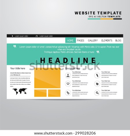 Website Design Template With Icons - stock vector