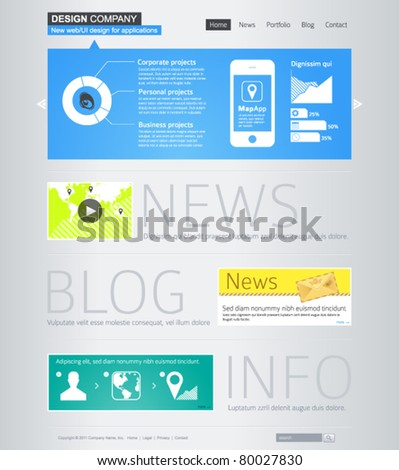 Website design template with infographics - stock vector