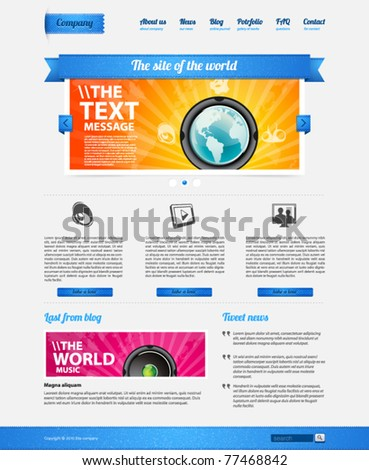 Website design template with ribbon - stock vector