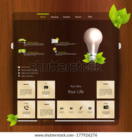 Website design template with wood  - stock vector