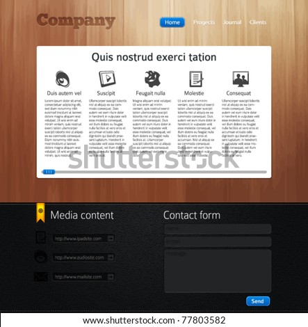 Website design template with wood and leather - stock vector